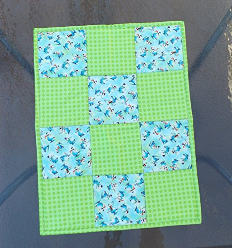Handmade Quilted Patchwork Christmas Table Topper, Mini Wall Hanging, Centerpiece Mat, Snowmen and Dots, Aqua and Lime Christmas Patchwork Wall Hangings