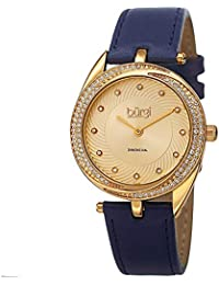 Diamond & Crystal Accented Women's Watch - 12 Diamond Hour Markers Swirl Design On Genuine Leather Strap - BUR122