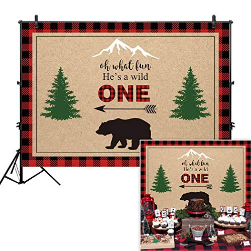 Buffalo Banner (Allenjoy 7x5ft He's A Wild One Lumberjack Birthday Backdrop for Boys 1st First Red Black Buffalo Plaid Camping Adventure Tribal Party Event Table Decor Banner Background Children Photo Booth Shoot)