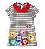 Eocom Little Girls Soft Summer Cotton Short Sleeve Dresses T-Shirt Casual Cartoon Dress (Flower, 2T)