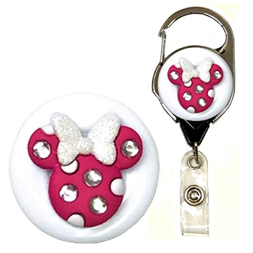Minnie Mouse Bling Real Charming Premium Decorative Badge Holder (Dark Fuchsia w/White Metal Carabiner)