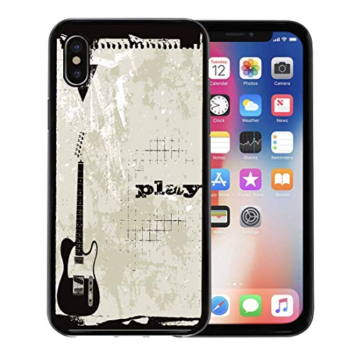 Funky Mod Rubber - Semtomn Phone Case for Apple iPhone Xs case,Colorful Border Music Complete in Funky Cool Gritty Mod Telecaster for iPhone X Case,Rubber Border Protective Case,Black