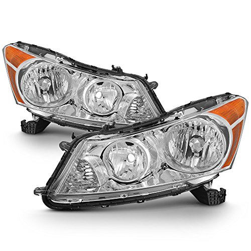 For 2008 2009 2010 2011 2012 4-Door Sedan Honda Accord Chrome Clear Driver & Passenger Side Headlights lamps