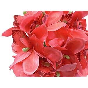 """Phoenix Silk Orchid Bundle 18 Artificial Satin Flowers 10"""" Bouquet 4340 63"""