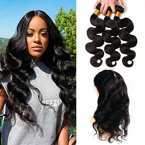 Price comparison product image 360 Lace Frontal With Bundles Brazilian Body Wave 3 Bundles With 360 Frontal Lace Closure with Baby Hair,130% Density, Natural Color,aliexpress,next day arrival 18 20 22+16 (360)