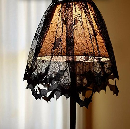 Royarebar Timeless Glam Halloween Party Gothic Lace Decorations Bat Curtains Fireplace Spiders Lampshade (Black) -