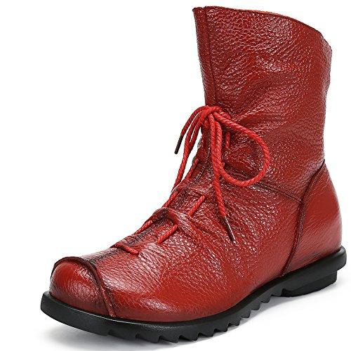 Plano Fur Saguaro Otoño Botines Deslizante Impermeable Boots Cuero Bota De Rojo Invierno Anti Botas Zapatos Mujer Calientes Para Nieve rx4rvpqzw