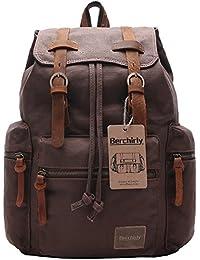 Vintage Men Casual Canvas Leather Backpack Rucksack Travel Bookbag Satchel for School Outdoor Hiking/Climbing Backpack for Men Women
