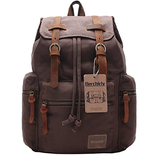 Berchirly Vintage Men Casual Canvas Leather Backpack Rucksack Bookbag Satchel Hiking Bag For Sale