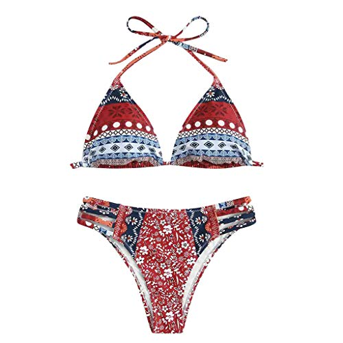 Tribal Aztec Bikini Triangle Swimwear 2pcs Bathing Suit Wired Halter ()
