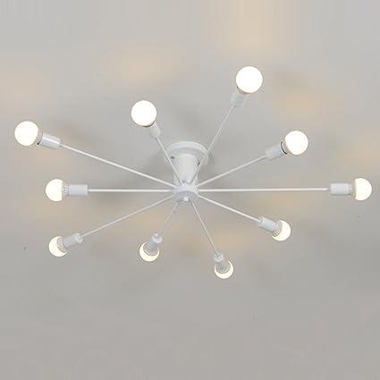 aero snail white modern style flush mount designers metal 10 light