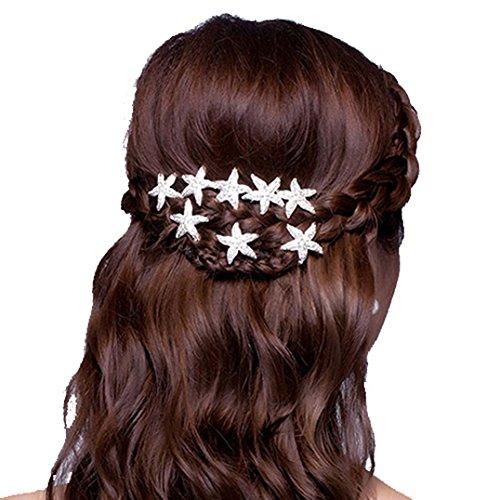 Polytree 6 Pcs Starfish Crystal Hair Pins U-shape Hair Clips for Women ()