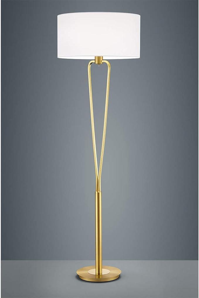 Wohnzimmerlampen Stehlampe in Messing matt mit weißem Stoffschirm rund Ø 50cm