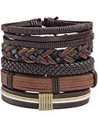 8Pcs Black&Brown Braided Leather Bracelet for Men Women Cuff Beaded Bracelet Adjustable