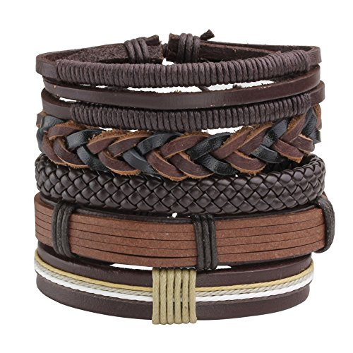 MILAKOO 5 Pcs Brown Braided Leather Bracelet for Men Women Cuff Beaded Bracelet Adjustable (Mens Braided Bracelet Brown)