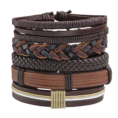 MILAKOO 5 Pcs Brown Braided Leather Bracelet for Men Women Cuff Beaded Bracelet Adjustable Brown Leather Cuff Braided Bracelet
