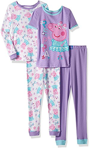 Peppa Pig Toddler Girls' Ballerina 4 Piece Cotton Pajama Set (2T)]()