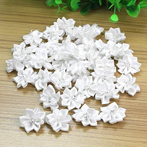 HATCHMATIC 40Pcs Crystal Handmade Rhinestone Satin Rose Ribbon Rosettes Flower with Rainstone DIY Wedding Decor Craft Sewing Accessories: White