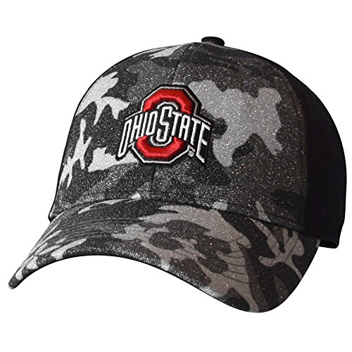 Camo Sparkle (J America NCAA Ohio State Buckeyes Women's Hide & Sparkle Structured Adjustable Cap, One Size, Black)