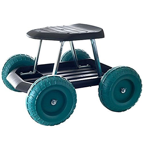 Gardening Wheels Stool (Garden Carts Work Seat Stool Scooter Rolling Wheel with Tool Tray Gardening work (1))