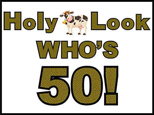 Oversize Planner by ABI Digital Solutions 50th Birthday HOLY Cow Look Who's 50! Yard Sign - Outdoor Party Decorations for 50th Birthday Party - Funny Gag Gifts