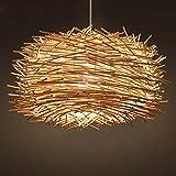 DEN Creative personality chandelier Simple single head bamboo bar restaurant balcony bird's nest chandeliers,A,60cm