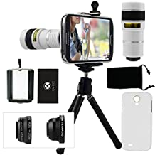 Samsung Galaxy S4 Camera Lens Kit including a 8x Telephoto Lens / Fisheye Lens / 2 in 1 Macro Lens and Wide Angle Lens / Mini Tripod / Universal Phone Holder / Hard Case for S4 / Velvet Phone Bag / CamKix® Microfiber Cleaning Cloth(White)