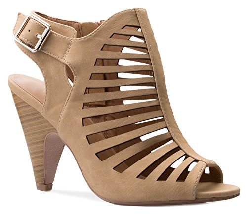 OLIVIA K Womens Cut Out Strappy Buckle Sling Back Chunky High Heel Sandals,10 B(M) US,Beige (Upper Sandals High Heel)