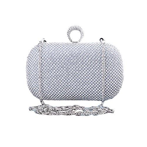 Eleoption hecho a mano de manga corta para mujer bolsas de cristal brillantes con forma de diamante anillo bolso piñón libre Pearl bolsas de o de noche diseño de vestido de fiesta multicolor - plata