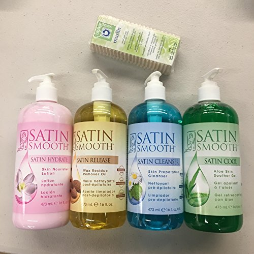 (Satin Smooth Skin Care Pack(Nourisher Lotion, Soother Gel, Cleanser, Remover Oil) + Free 100 pc Muslin Strips)