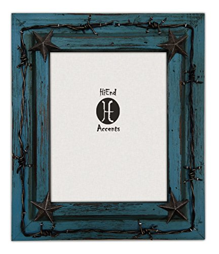 (HiEnd Accents Western Distressed Wood with Barbwire and Stars Frame, 8x10, Turquoise)