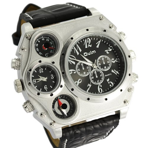 Oulm Analog White Metal Bezel Four Black Sub-dials Men Watch -