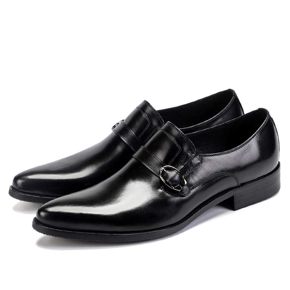 Qiusa Qiusa Qiusa Zapatos Monk de Cuero Genuino para Hombres Zapatos cómodos con Punta Blanda y Suela Transpirable (Color : Negro, tamaño : EU 43) 980d47