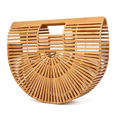 Bamboo Handbag Handmade Tote Bamboo Purse Straw Beach Bag for Women ()