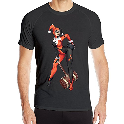 IGiGT Sports T Shirts The Wife Of Joker Harley Quinn Quick Drying Tees For Men Black - Harley Quinn Batman Arkham Knight Costume