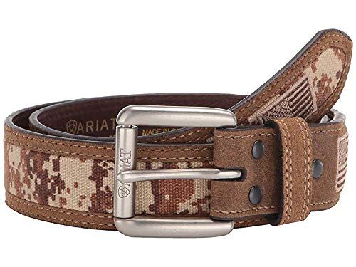 Ariat Men's Sport Patriot w/USA Flag Tab & Roller Buckle Belt Medium Brown ()