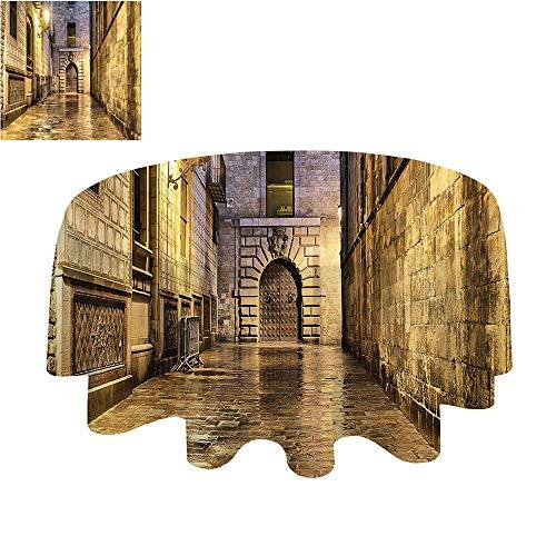 SATVSHOP Round Tablecloth-50Inch-Stain Resistant, Washable, Liquid Spills Bead up.Gothic Dark Stone Ancient Street in Spain European Horror Dark Evil enaissance Medieval - Ancient Stone Beads