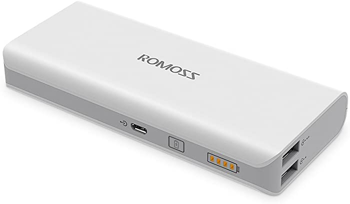 10000mAh Portable Charger, ROMOSS Universal Power Bank, Dual Output External Battery Packs Compact Slim Thin Compatible with Cellphones, iPad, Samsung and More, White