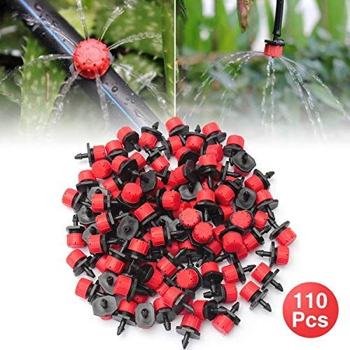 - OUTERDO 110 Pcs Irrigation Drippers Sprinklers Emitter Drip Watering Kit Accessories Anti-Clogging 360° Adjustable Save Water 1/4