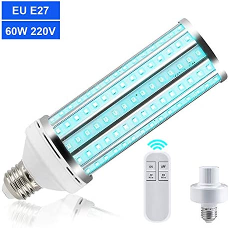 60W UV Germizide Lampe, UV Desinfektion Lampe, UV-C E27 Licht LED Lichter für Küche, Restaurant, Badezimmer, Zuhause, Schule (mit Fernbedienung)