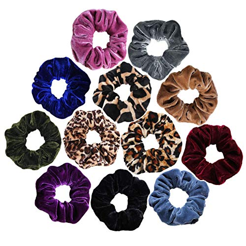 12pcs Packed Scrunchies Velvet Elastic Scrunchie Hair Bands Bobble Hair Scrunchy Hair Ties Ponytail Holder for Girls and Women]()