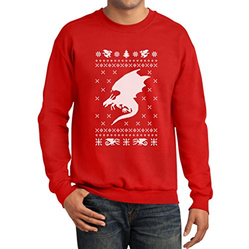Big White Dragon Wings Ugly Christmas Sweater Style Xmas Apparel Sweatshirt Large Red (Maternity Xmas Jumper)
