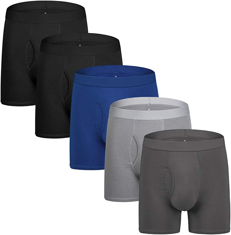 Natural Feelings Mens Underwear Boxer Briefs Men Pack of 5 Soft Cotton Open Fly Underwear