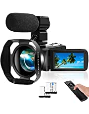 Video Camera 4K Camcorder 48MP Digital Camera 18X WiFi YouTube Camera IR Night Vision Camcorder for YouTube with 360° Wireless Remote Control and External Microphone