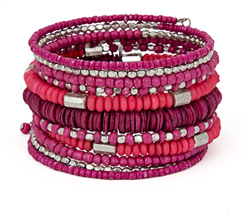SPUNKYsoul Handmade Bohemian Coil in Shocking Hot Pink and Silver Bracelet for Women Collection