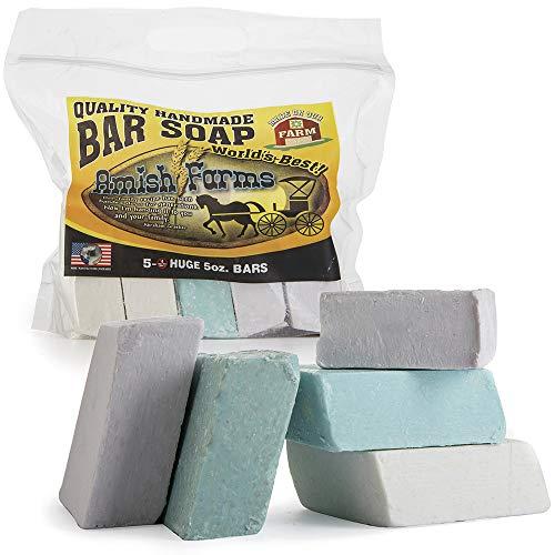 Amish Bar - All Natural Amish Farm Bar Soap Variety 5-Pack Cold Process Old-Fashioned Homemade Hand-cut