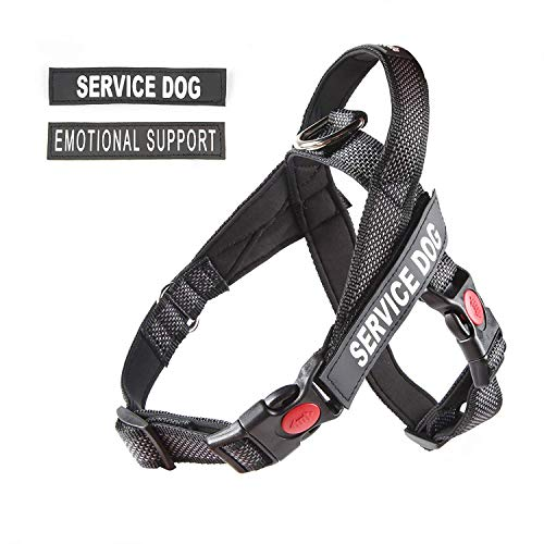 "pawshoppie Lightweight Service Dog Vest/Harness with Handle and 2 Free Removable Service Dog & 2 ""Emotional Support'' Patches, Reflective Strap to Ensure Safety (L)"