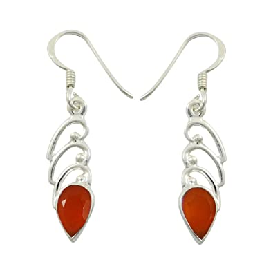 925 Pure Silver Carnelian Gemstone Traditional Dangle Earring Jewellery Gift For Her QalGL