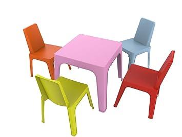 resol Julieta Set Infantil, 1 Mesa Rosa + 4 Sillas Roja/Naranja/Azul/Lima