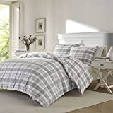 3 Piece Grey Plaid Full Queen Size Duvet Cover Set, Coastal Lodge Cabin Themed French Country Checkered Bedding, Gray Madras Tartan Lumberjack Pattern Cottage Checked, Cotton Flannel